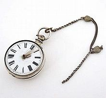 Verge Pocket watch : ' Pearson , Louth '. A hallmarked Silver key wind pocket watch with ornate pierced cockspur and ena