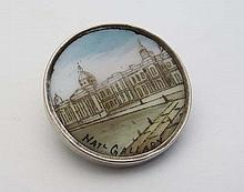 Vintage Costume jewellery : A souvenir brooch of circular form with hand painted image of the National Gallery to centre