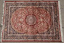 Rug / Carpet : a Keshan silk rug with tan ground and the colours of buff and black. 75 x 55 1/8
