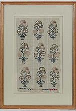 Sampler : 19thC needlework of repeated flowering plants  12 3/4 x 7 1/2