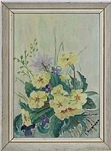 Leonard Richmond (XX), Oil on board, Primroses and violets, Signed lower right. 9 1/