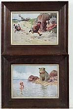 After Clarence Lawson Wood ( 1878-1957 ) A pair of coloured prints Cave man swimming & runni