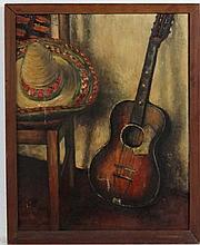 Gildas XX Mexican, Oil on canvas, An interior with guitar, chair and sombrero,  Signed l