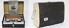 Vintage Retro : a 1950's Pye Transistor Radio of case form opening to reveal a chromed interior  ( w