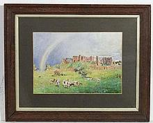 James Edward Duggins ( 1881-1968) Watercolour Rainbow over the ruins of Kenilworth Castle ,