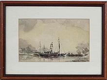 Indistinctly signed XX, Watercolour, Moored Scottish fishing boats, Signed lower right.