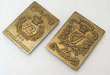 Militaria : Two 19thC rectangular brass belt plates , comprising the 18th Royal Irish Regt ( 1881 -