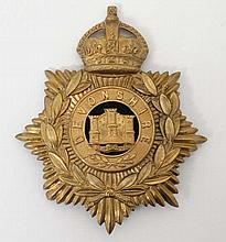 Militaria : A large gilt Devonshire Regiment dress uniform helmet badge , depicting the three towers