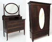 A late Victorian inlaid mahogany bedroom suite comprising dressing table and  double wardrobe with b