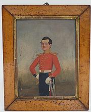 Militaria : A Portrait of a young British Infantry Officer , c1820 , in dress uniform . Oil on canva
