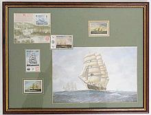 A framed collection of 4 tall ship stamps from Paraguay and Yugoslavia, together with an Exhibition