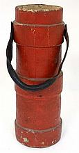 Militaria : A large British Army Cordite Carrier , red canvas exterior with leather carry handle . 2