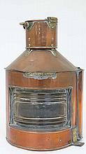 An early 20thC copper and brass ships starboard lamp  marked ' Bow Starboard Patt 24 ' 16