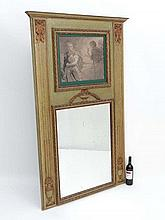 Trummeau mirror : A c.1900 French mantle mirror having bow and acanthus with urns and laurel decorat