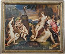P Bell (XX) after Titian,  Oil on canvas Board,   ' Diana and Callisto '  Signed lower