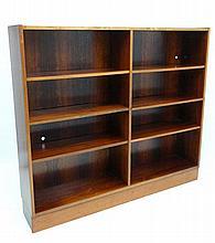 Vintage Retro :  a Scandinavian Rosewood ? Floor standing Bookcase comprising of eight open front se
