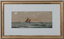 J Russell XX Maritime,  Watercolour and gouache,  A fishing boat at sea with others,  Si