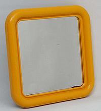 Vintage Retro : a British Habitat yellow framed square formed mirror  marked  ' Crayonnz ' verso . 1