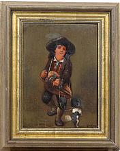 Van Haag Dutch early - Mid XX,  Oil on panel,  Hurdy - gurdy player with performing dog.