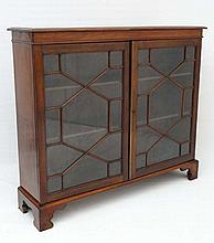 An early 19thC mahoagny bookcase with astral glazed twin doors, shaped bracket feet and adjustable h