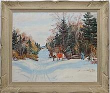 H Anderson early XX,  Oil on board.  Scandinavian snow scene with figure loading wood onto a