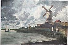 Jeanette Neart 1959 Dutch School,  Oil on canvas,  Figures , windmill , unloading a sail bar