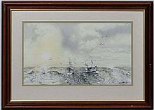 Carl R Paul '27,  Watercolour,  A pair of fishing Trawlers,  Signed lower right.  10