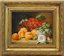 XX Dutch School,  Oil on board,  Still life of fruit on a stone ledge including raspberries,