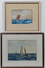 ? H Smith XX,  Watercolour and gouche  together with another ,  Fishing boat towing a rowing