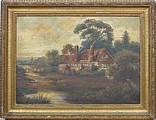 Manner of G Cole,  Oil on board,  A cottage in the country.  15 x 20 3/4