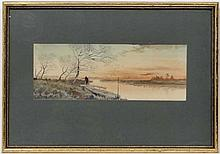 R Hidesaki XX Japanese,  Watercolour,  Fisherman on a jetty having left his boat on a river,