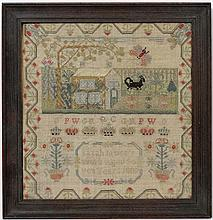 Sampler : Sarah James's work aged seven years 1807 '  A silk depicting a house , dog , butterfly