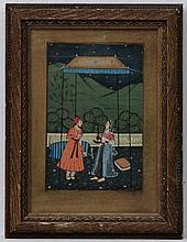 XIX - XX Indian School,  Gouache,  Male and female figures under a garden marque  4 3/4