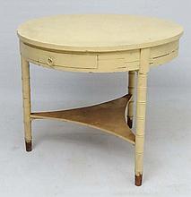 A Victorian Faux Bamboo circular three legged table with frieze draw, shaped triangular shelf stretc