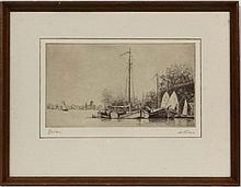 M E Tims early XX,  Etching,  ' Tjalken ' moored Dutch barges,  Aperture 5 1/4 x 8 1/4