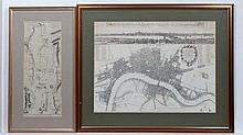 Maps: A Framed & mounted map of London Westminster & Yeborough of Southwarke with their suburbs. Tit