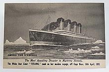 White Star Line Shipping Memorabilia :  A postcard with black and white image 'Titanic Among the ice