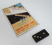 Shipping Memorabilia : White Star Line , RMS Majestic leaflet and Titanic Domino