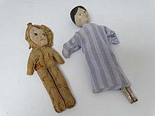 A late 19th C peg style doll with painted hair and face, and jointed legs. In fabric nightshirt. 12
