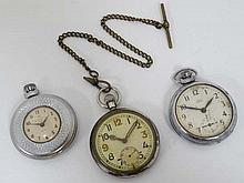 Militaria : A WWII British Army pocketwatch , Swiss made , the reverse marked ' G . S . T . P . ( Ge