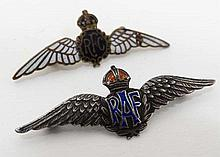 Militaria : A silver and enamelled lapel badge formed as the Royal Air Force emblem ( early design )