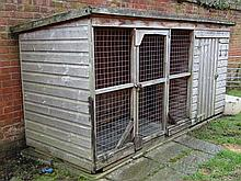 Dogs : a bespoke Gun Dog kennel and integral Run, with inspection door, door to kennel and another t