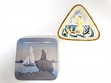 Two items of Royal Copenhagen wares depicting mermaids comprising a triangular dish in high relief b