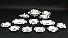 A c1881 Royal Worcester brown and white ''Pagoda'' pattern part dinner service , to include 3 meat p