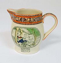 An early 20thC Adams Dickens ware jug, transfer printed with hand painted colour details, decorated