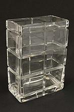Scandinavian Glass: A contemporary Kosta Boda Cut Crystal Vase by Gun Lindblad, signed and numbered