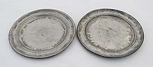 Pewter : two early plates, one marked ' Compton London ' ( Thomas Compton London , w 1802-1807) and