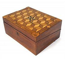 A c1840 Tunbridge parquetry inlaid mahogany writing slope / lap desk. Inlaid star to top. 12'' wide