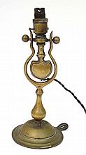 Railway : An old electric cast brass Pullman lamp, the circular base with screw head fixing 12 1/2