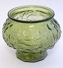 American Art Glass : EO Brody & Co  Cleve Ohio  U. S. A. , a green moulded glass pedestal bowl , sig